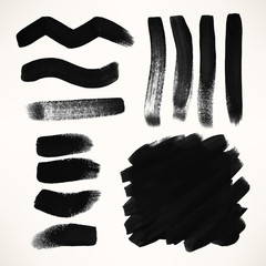 set of black grunge vector