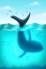 A Whale dives down the ocean