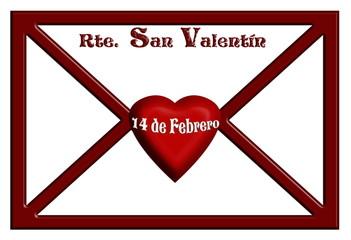 Sobre, tarjeta de San Valentín, fondo blanco