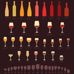 vector red and white wine glasses and bottle types, alcohol,