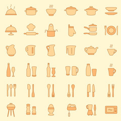 vector cooking kitchen icons, set cook tools,