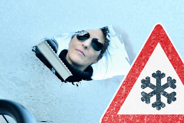 Woman Scraping Ice from a Windshield - Warning Sign