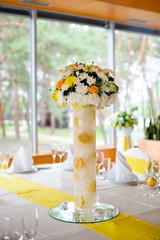 decorated table in the restaurant at the wedding, bouquet, Bouqu