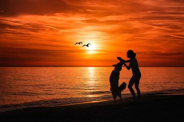 Girl with dog on the beach