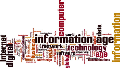 Information age word cloud concept. Vector illustration