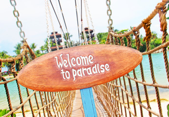 Signboard on the tropical island