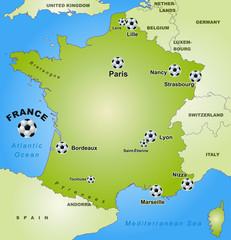 Frankreich mit Fußballaustragungsorten
