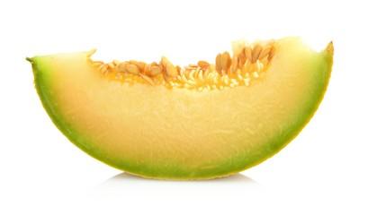 Melon galia slice, piece isolated white in studio