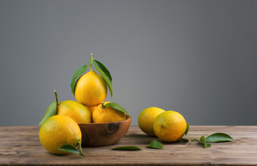 lemons with green leafs