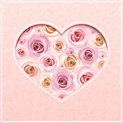 Valentine's day pink card with roses. Vector eps-10.