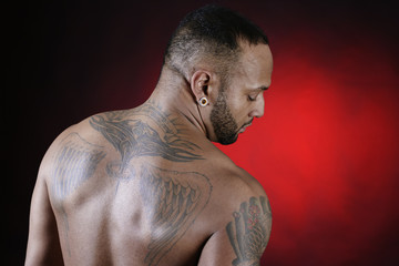 Tattooed African American Young Man.