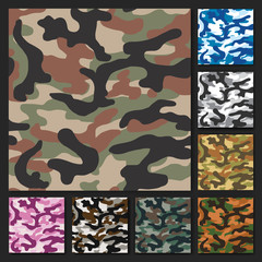 camouflage set texture vector