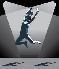 Girl jumping and dancing