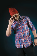 African American Young Man Fashion Model in Hat