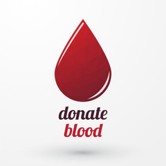 Donate blood and red drop with shadow