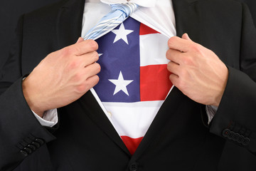 Businessman Showing American Flag Under His Shirt