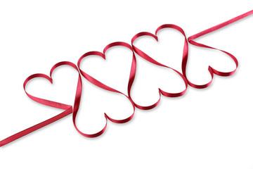Hearts of red ribbon