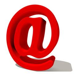 @ chiocciola simbolo email  3d rossa, isolato su fondo bianco