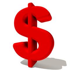 $ dollaro simbolo lettera 3d rossa, isolato su fondo bianco