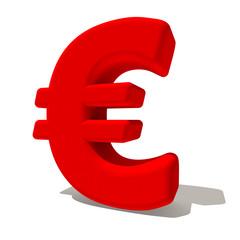 € euro simbolo lettera 3d rossa, isolato su fondo bianco