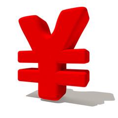 ¥ yen simbolo lettera 3d rossa, isolato su fondo bianco