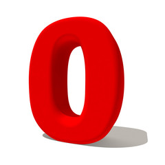 0 zero numero 3d rosso, isolato su fondo bianco