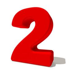 2 due numero 3d rosso, isolato su fondo bianco