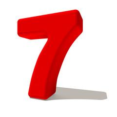 7 sette numero 3d rosso, isolato su fondo bianco