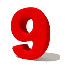 9 nove numero 3d rosso, isolato su fondo bianco