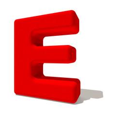 e lettera 3d rossa, isolata su fondo bianco