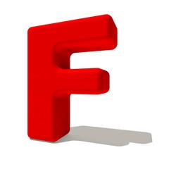 f effe lettera 3d rossa, isolata su fondo bianco