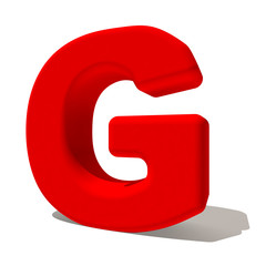 g gi lettera 3d rossa, isolata su fondo bianco