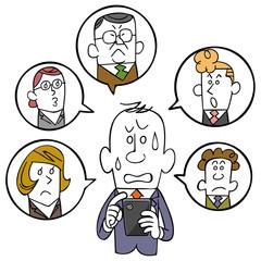 ビジネスマンとスマートフォンとソーシャルネットワーク