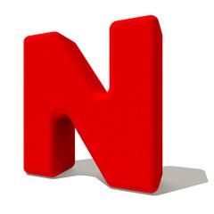n enne lettera 3d rossa, isolata su fondo bianco