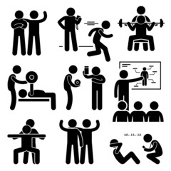 Personal Gym Coach Trainer Instructor Exercise Workout Pictogram