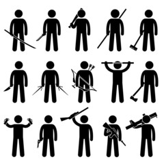 Man Holding and Using Weapons Pictogram
