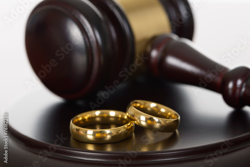 Wedding Rings And Wooden Gavel - 76182266