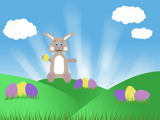 brown chocolate easter bunny with eggs spring illustration