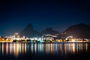 Night View of Mountains and City Lights of Rio de Janeiro