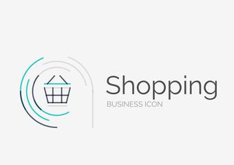 Thin line neat design logo, shopping cart icon