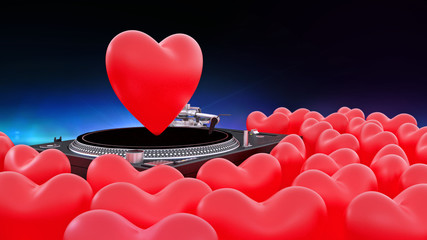 dj controller with red heart