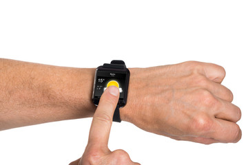 Hand Wearing Smartwatch Showing Weather Condition