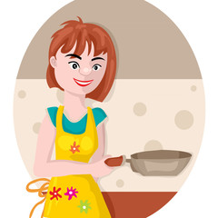 girl with a frying pan
