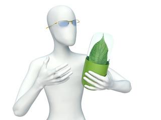 3d man and Natural vitamin pills. Alternative medicine