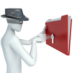 3d man stealing documents
