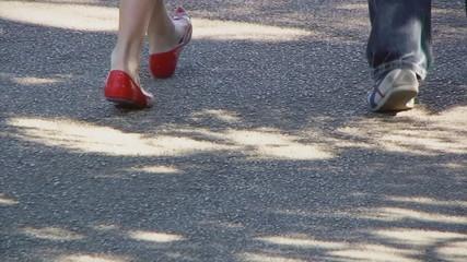 Feet lifestyle walking travelling shot