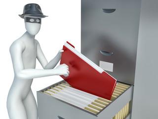 3d man stealing documents