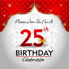 celebrating 25 years birthday, Golden red royal background