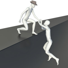 3d man helping another person