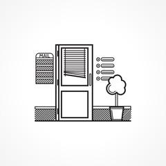 Black line vector icon for office door
